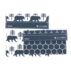lunchskins charcoal bear set