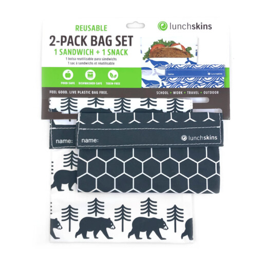 lunchskins set charcoal bear