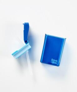 drink in de box herbruikbaar drinkpakje open blauw
