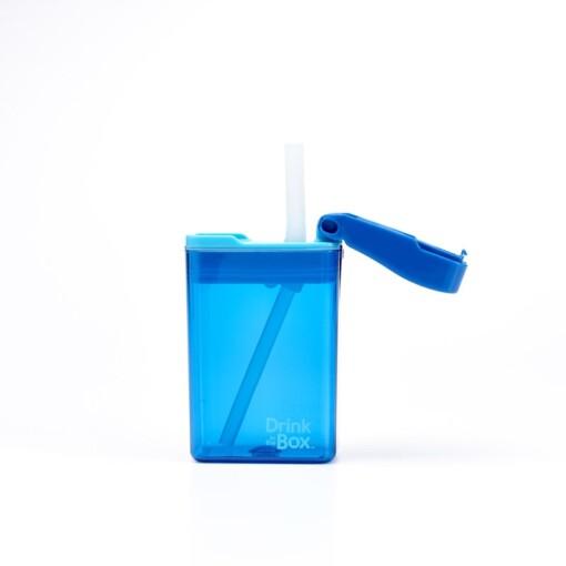 drink in de box herbruikbaar drinkpakje blauw open