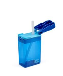 drink in de box herbruikbaar drinkpakje blauw open zij