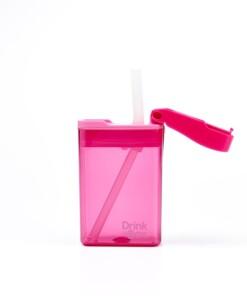 drink in de box herbruikbaar drinkpakje roze open