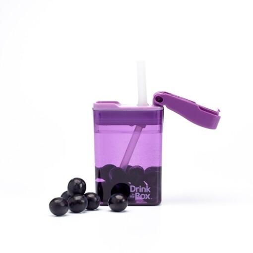 drink in de box herbruikbaar drinkpakje paars vol