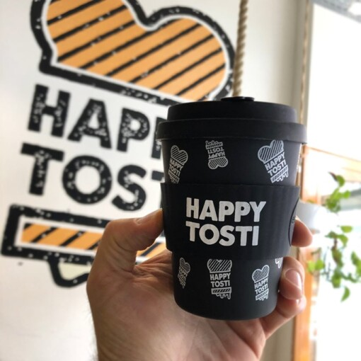 happy tosti koffiebeker met logo