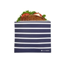 lunchskins sandwich bag zipper navy stripes
