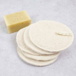 a slice of green reusable make-up pads