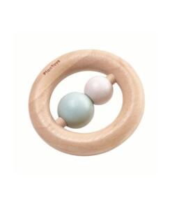 plan toys houten kralen rammelaar pastel