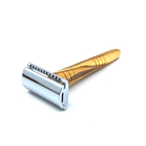 safety razor scheermes olijfhout